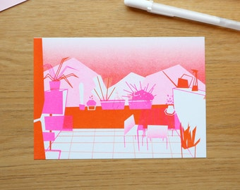 Polygonal illustration of the balcony - Risograph print A5, limited edition