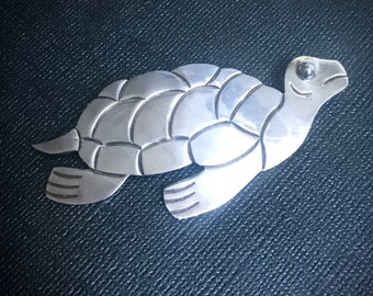 Large Vintage Mexican Turtle Sterling Silver Brooch, Pin, 1970's, Taxco Mexican Jewelry