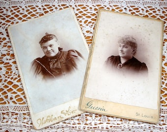 Vintage Cabinet Cards, Photographs From Late 1800's, 2 Women,  Antique Sepia Photos  (5793)