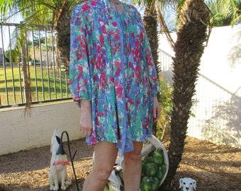 Vintage Diane Fres Original floral print accordian dress