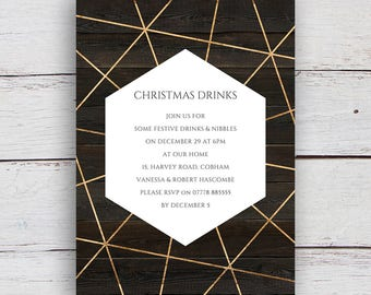 Geo Printable Gold Geometric and Watercolour Party Invitation - Dark Wood