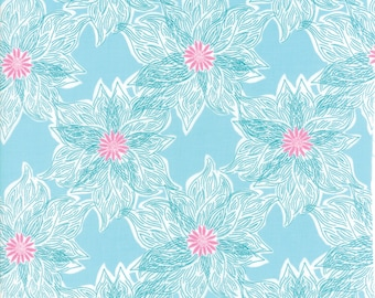 Kate Spain Voyage Fabric by the Yard, Rio in Turquoise Blue, Moda Fabrics, 27284-11