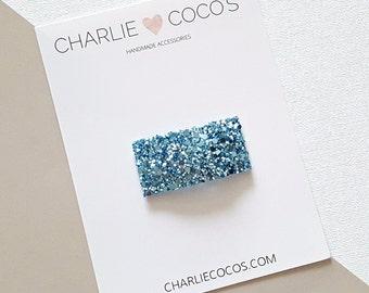 Metallic Aqua Glitter Snap Hair Clip // Baby Girl Glitter Snap Hair Clip by charlie coco's