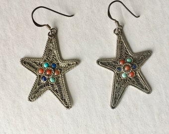 vintage bohemian star earrings