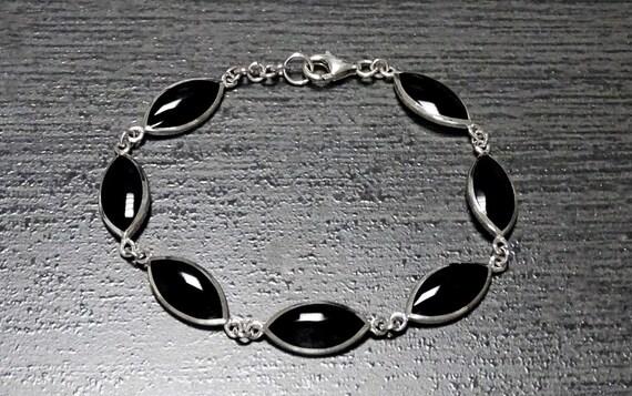 Sterling Silver, Bracelet, Gemstone, Birthstone, Onyx, Black, Original, Unique, Women, Paypal, Fast Shipping, Elegant, Jewelry, Urban, 925