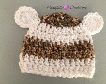 Newborn bear hat.. Photo prop.. Ready to ship