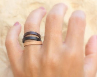 Leather band ring - Thin Band Ring , black ring band, gold and leather ring, Brown Leather Rings - Three Colors Ring