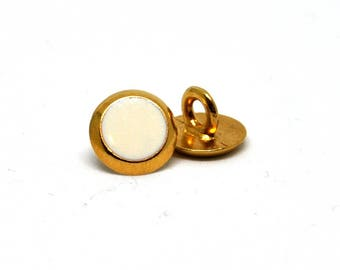 Set of 2 white shank from 1 cm vintage gold metal buttons