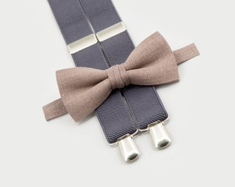 10% OFF light brown bow tie & gray suspenders father son matching ties matching outfit for father son