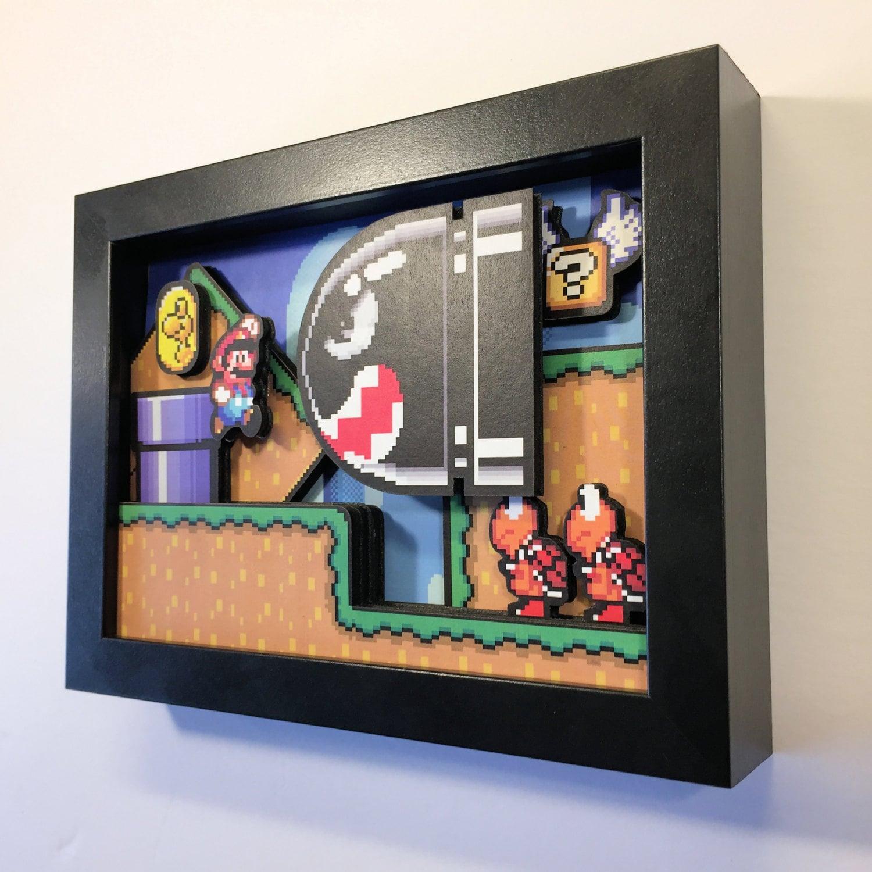 Super Mario World Shadow Box 5x7