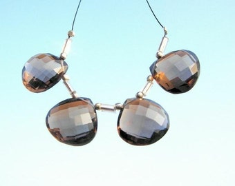 15mm AAA Smoky Quartz faceted heart briolettes 2 matched pair 4 Pieces