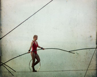 Blue Red Circus High Wire Artist Photograph--Out There-- Fine Art