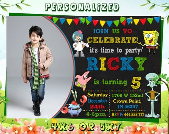 Spongebob,Spongebob Invitation,Spongebob Birthday,Spongebob Birthday Party,Spongebob Birthday Party Invitation