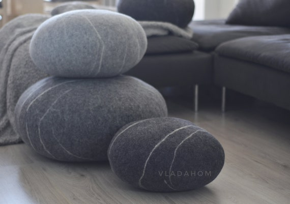 Felted Wool Stone   Floor Cushions   Pouf   Floor Pillows   Gift For Men    Gifts For Woman   Decorative Pillows   Ottoman   Furniture Stone Pictures Gallery