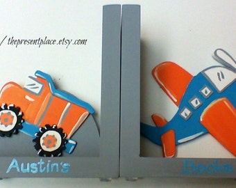Hand painted and personalized dump truck and airplane bookends,aqua, grey,orange, kids book ends, baby's bookends, children's,boys bookends