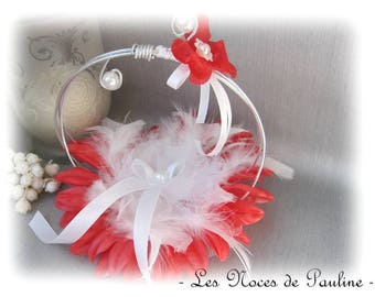 Ring pillow white red rings wedding feather flower scrolls