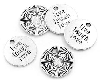 """4 Antiqued Silver """"Live Laugh Love""""  Charms"""