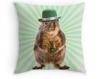 Irish Gifts, St Patricks Day, Squirrel Gifts,  Irish Decor, Squirrel Cushion, Three Leaf Clover, Funny Gifts, Squirrel Pillow