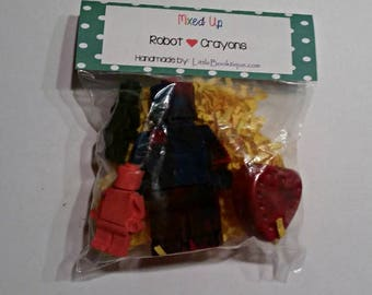 Upcycled Crayons Robot Love Party Favors Stocking Stuffers