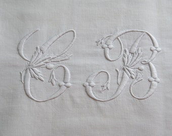Antique French Pure Linen Sheet Top Monogram CB