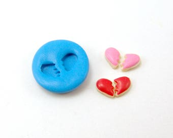 Flexible Silicone Mold // Dollhouse Broken Heart Cookies // 1:12 Scale Food and Food Jewelry Projects