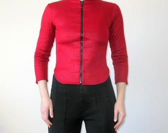 Red Color Black Warm Interior Zip Jumper