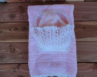 Vintage Hand Towel & Washcloth Set With Crochet