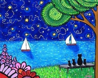 Black Cat starry night print Shelagh Duffett