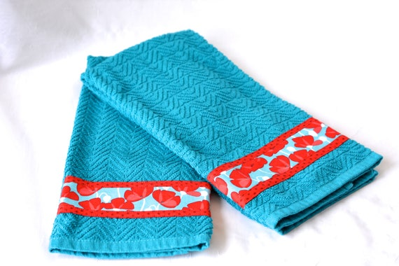 Aquamarine Home Decor, 2 Hand Decorated Kitchen Towels, Set of Two Cotton Turquoise and Red Tea Towels, Aqua Dish Cloths
