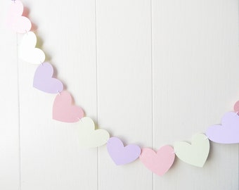 Pale Pink Green Purple Heart Garland / Wedding Decoration / Love Bunting / Anniversary Decor / Photo Prop / Adjustable Hand Sewn