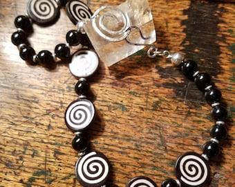 Vintage African Batik Bone Necklace with Onyx