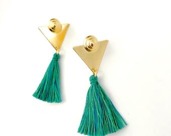 Green gold tassel earrings, tassel stud earrings, gold triangle earrings, Nulika