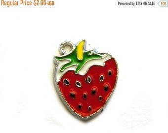 HALF PRICE 4 Enamel Strawberry Charms - 25mm