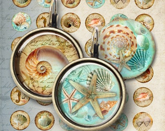 12 mm size images NAUTILUS Printable Download Digital collage Sheet for pendants bracelets earrings cabochons rings cufflinks magnets