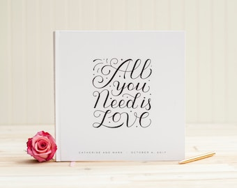 Wedding Guest Book wedding book guestbook personalized wedding photo book All You Need is Love wedding planner instant photo guest book