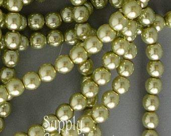 4mm Pearl Olivine Czech Glass Druk Bead, 120 Beads, Olivine Pearl Smooth Round Druk Bead, 3629, Green 4mm Pearl Beads