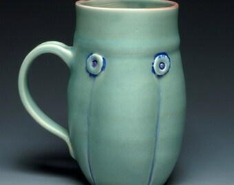 Hand thrown mug, Green Button Handmade Ceramic Coffee Mug, 12oz