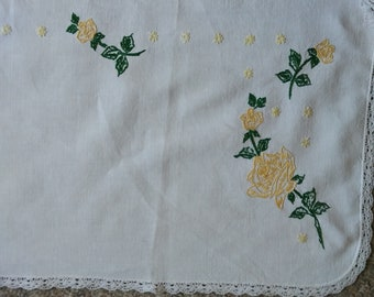 Vintage linen embroidered  dresser scarf, vintage home decor, yellow roses