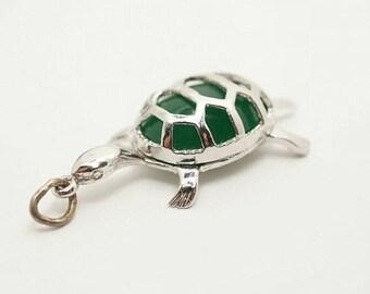 SALE Vintage Sterling/Glass Tortoise Charm