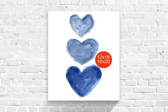 Indigo Hearts Poster, 12x16, 16x20