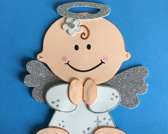 6 Angel centerpieces/Baby shower Girl / Baptism Centerpiece/ Firts Comunion/ Angel foam