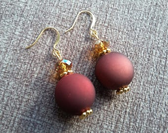 Wine and Gold Earrings with Swarovski Crystals
