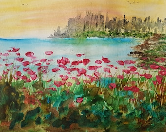 Skyline over Poppy field.