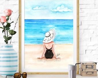 Summer art, Fashion illustration print, Fashion art, girl art, girls room art, watercolor, vanity art, beach, travel art - Do not disturb