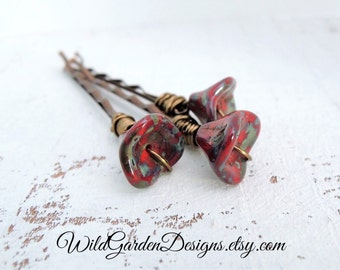 Red rose Bohemian Bride Decorative Hair Pins Rustic Czech Glass Poppies Flower Decorative Bobby Pins Wire Wrapped Boho Hair Accessory