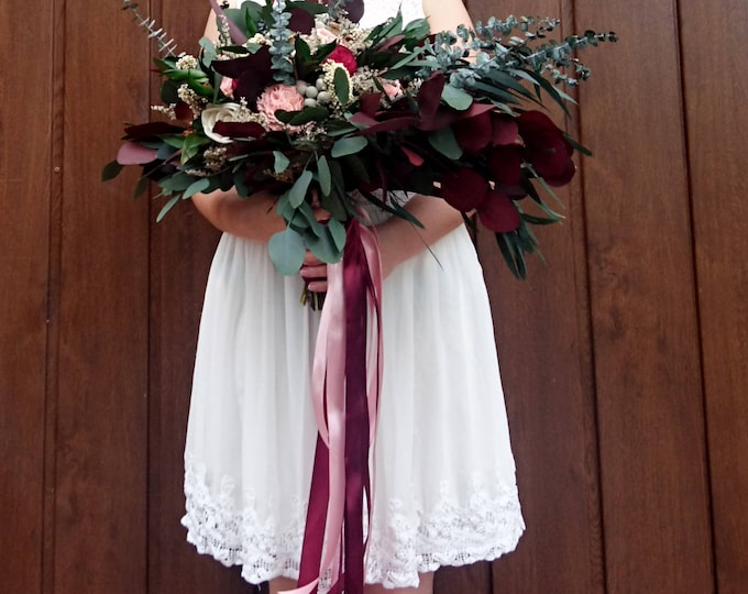 Wild boho wedding bouquet with preserved eucalyptus