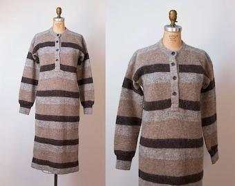 1970s Icelandic Wool Sweater Dress / 70s Striped Dress