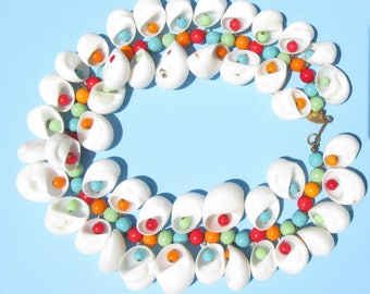 Miriam Haskell Necklace Colorful Glass Beads and White Shells Fun Summer Colors Red Blue Green and Orange