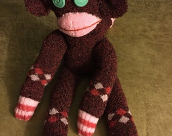 Spring One of a kind Hand Stitched  Sock Monkey    15""