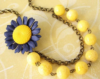Statement Necklace Yellow Jewelry Navy Blue Jewelry Yellow Necklace Flower Necklace